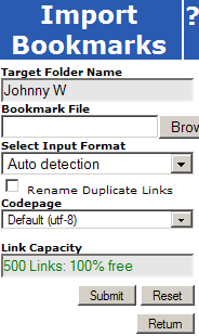 Import Bookmarks Dialog
